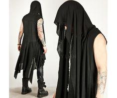 Avant garde draping long sleeveless hood cardigan 45 cardigans and sweaters 7