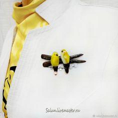 Купить Брошь Две желтые птички - брошь ручной работы, брошь из полимерной глины