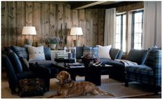 General chalet interior decoration ideas - and the dog House Design, Little Log Cabin, Dark House, Rustic House, Family Room, Living Room Spaces, Interior, Room Design, Home Decor