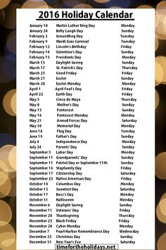 2016 Holiday Calendar | Time for the Holidays