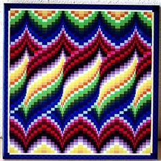 Bargello quilt style ceramic tile trivet for quilter blueLight in the Valley Bargello Pattern Book Motifs Bargello, Broderie Bargello, Bargello Quilt Patterns, Bargello Needlepoint, Bargello Quilts, Needlepoint Stitches, Crochet Blanket Patterns, Embroidery Stitches, Cross Stitch Patterns