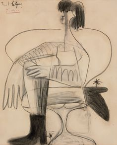 Pablo Picasso (Spanish, 1881–1973), Femme assise en costume de cheval, 1964… More Pins Like This At : FOSTERGINGER @ Pinterest.