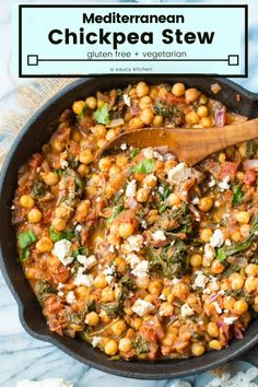 + # Vegetarian Mediterranean Chickpea Stew with Spinach & Feta - all made in one pan in under 20 minutes! Sautéed red onion and garlic with Mediterranean spices stewed with crushed tomatoes, chickpeas and spinach. Tasty Vegetarian, Vegetarian Recipes Dinner, Veggie Recipes, Cooking Recipes, Healthy Recipes, Vegetarian Recipes With Chickpeas, Chickpea And Tomato Recipe, Chickpeas Spinach Recipe, Cooked Spinach Recipes