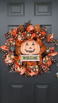 HALLOWEEN Wreath Fall Deco Mesh Door Decoration Ribbon Sign TRICK OR TREAT  #Handmade