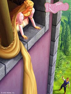 """""""Rapunzel, let down your hair!"""" My mysterious Prince called.   Thinking it was my prison guard, I let it down. - barbie-as-rapunzel Photo"""
