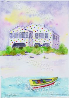 "This print by Becky Stowe is aprox. 13"" X 19"" and features The Polka Dot House. This iconic house was located on the ocean at 9th Ave. S. and everyone loved the"