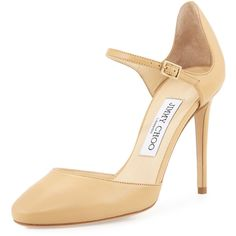 Jimmy Choo Marny 100mm Leather Mary Jane Pump ($325) ❤ liked on Polyvore featuring shoes, pumps, nude, almond toe pumps, leather shoes, mary-jane shoes, leather mary jane pumps and leather pumps
