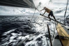 February 23, 2015. Leg 4 to Auckland onboard Abu Dhabi Ocean Racing. Day 15. Daryl Wislang readies a changing sheet on the MHO in the shifty winds of the doldrums - Matt Knighton / Abu Dhabi Ocean Racing / Volvo Ocean Race