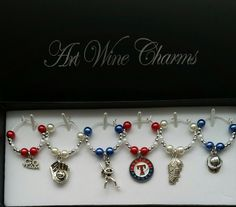 6 Texas Rangers Baseball themed Wine Charms, Baseball, MLB, Team Colors, Thank You, Gift, Coach, Themed Party, Party Favors, Gifts under 20 by PickinsGalore on Etsy