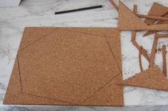 Trace hexagon shape onto cork Cork Board Tiles, Diy Cork Board, Cork Tiles, Cork Boards, Dollar Store Hacks, Dollar Stores, Baby Footprint Art, Study Room Decor, 365days