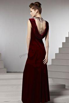 Dark red High collar velvet Sleeveless Beaded Evening Dress BY506