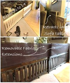 DIY dog gate! I built this gate in 7 foot panels to expand across the 12' entry way between the living room and kitchen. I built a sofa table that the panels can retract into. And to add more height, I added shade fabric stretched across dowels that inser