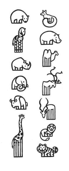 Icons / Pictograms ZOO on Behance 동물, 북극곰, 곰, 여우, 얼룩말, 하마, 코뿔소, 말, 낙타, 코끼리, 사슴, 물소, 소, 사슴, 염소, 뿔, 산록, 기린, 사자, 호랑이, 로고, 라인
