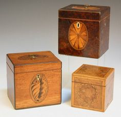 Trio of cube shaped Tea Caddies from Tooveys