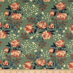 "Birch Organic Acorn Trail Knit Peonies Mint - Discount Designer Fabric - Fabric.com 44"" Medium Weight Knit Cotton"