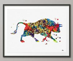 Bull Watercolor Print Farm Art Poster Fine Art by MimiPrints