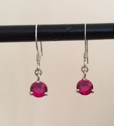 Sterling Silver Earrings with Red Jewels