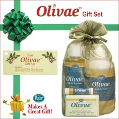 Olivae gift set is the perfect gift for someone who could use some pampering. Nourish the body from head to toe with Olivae skin lotion, Olivae Lip Balm, Olivae Bar and Liquid Soaps.Envelop your skin with nutrient-rich Olive Oil.  http://www.baar.com/Merchant2/merchant.mvc?Screen=PROD&Product_Code=101003