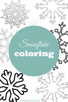 Snowflake Printable pack with 6 different types of snowflakes to colour, decorate or use as a template for snowflake crafts