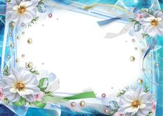 Transparent Blue Photo Frame with Flowers