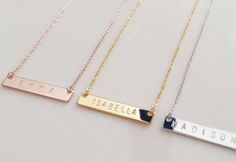 Personalized Gift for women - love these personalized Bar Necklace gifts for girlfriends - in gold, silver and rose