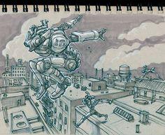 """Mechanized Parkour Racing League"" #Inktober #robot, blue pencil, marker, colored pencil, Staedtler pigment liner, toned paper"