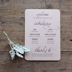 Oh So Beautiful Paper: Earthy Wood and Floral Wedding Invitation from Akimbo ideas for wording Beautiful Wedding Invitations, Floral Wedding Invitations, Wedding Stationary, Stationary Set, Garden Party Wedding, Diy Wedding, Wedding Day, Ceremony Programs, Wedding Programs