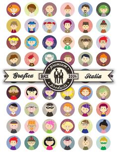 People Characters 1 inch round Bottle Cap Images Instant Download Printable Collage Sheet Clipart Cabochon Bottlecaps Resin Pendant Clip Art
