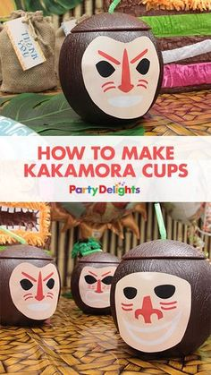 If you're throwing a Moana party, then these kakamora cups are a must!! They're so easy to make with novelty coconut cups and our free printable kakamora faces. Simply stick a face on each coconut cup and serve your drinks in them at your Moana birthday party!