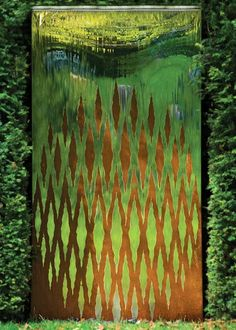 Metal water wall incorporating a striking pattern of two dissimilar metals BEAUTIFUL… Modern Water Feature, Outdoor Water Features, Water Features In The Garden, Garden Features, Outdoor Wall Art, Outdoor Walls, Outdoor Living, Landscape Design, Garden Design