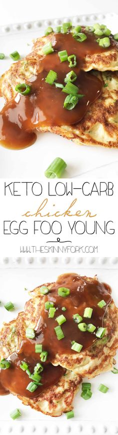 This Keto Low-Carb Chicken Egg Foo Young is a power bomb of flavor. Keto friendly, low-carb, gluten-free, and delicious! TheSkinnyFork.com   Skinny & Healthy Recipes