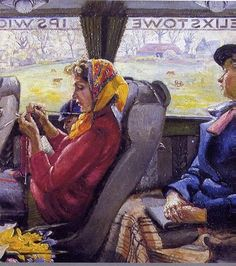 """yarn is the center of the action in this detail of """"The Fekixstone to Ipswich Coach"""" by Russell Sidney Reeve a larger painting, probably from the 1940's"""