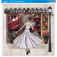 Papel para Arte Francesa Litoarte 30,7 x 30,7 cm - Modelo AFQG-100 Mulher Fashion - CasaDaArte