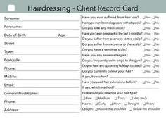 Client Consultation Form  Cretdecor    Salons Salon