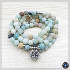 108 Matte Amazonite Beads Lotus Charm Mala Bracelet Mala