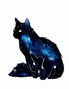 Galaxy Cat by ThreeLeaves. on - Galaxy Cat by ThreeLeaves. Warrior Cats, Fantasy Creatures, Mythical Creatures, Animal Drawings, Art Drawings, Galaxy Drawings, Drawing Animals, Kawaii Drawings, Galaxy Cat