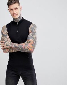 949ebda41e8 DESIGN muscle fit sleeveless t-shirt with zip turtleneck in black