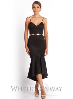 Black High Tide Dress by Talulah. Midi dress by Talulah, with a figure scuplting panelled bodice. Wide set spaghetti straps and open neckline that creates an elegant silhouette, completed by a soft mid length fishtail hemline.