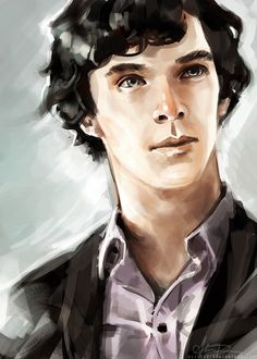Commissioned painting of a younger Sherlock from his university years. (Alice X Zhang) <- that is the most beautiful painting I have seen of young Sherlock! Sherlock Fandom, Sherlock Holmes Bbc, Sherlock John, Sherlock Series, Johnlock, Martin Freeman, Detective, The Maxx, Mrs Hudson