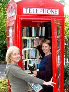 """""""Book Exchange"""" - original BBC Story of Upcycled Phone Booth - in Little Eaton Parish on Alfreton Road Little Free Libraries, Little Library, Free Library, Homes England, Telephone Booth, The Secret World, Book Nooks, Reading Nooks, World Of Books"""
