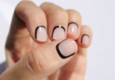 Reverse French Manicures are no longer just for the ambidextrous. Now you can just heat, stick and file your way to an awesome manicure. Black Outline Transparent Nail Wraps by SoGloss on Etsy, $8.00