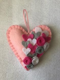 Excited to share this item from my shop: Heart felt ornament, Valentines Day, READY TO SHIP mantle decor, home decor pinks and white perfect Wedding or Mother's Day Gift Valentine Wreath, Valentines Day Hearts, Valentine Day Crafts, Felt Decorations, Valentines Day Decorations, Handmade Decorations, Felt Gifts, Fabric Hearts, Heart Ornament