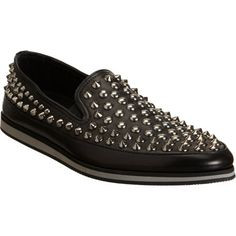 Prada Studded Slip-On Studs And Spikes, Swagg, Loafers Men, Prada, Oxford Shoes, Ankle Boots, Dress Shoes, Black Leather, Footwear