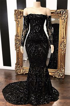 Vestidos Off The Shoulder Mermaid Prom Dresses 2019 New Black Long Sleeve Sequined Formal Evening Dress Party Gowns Prom Girl Dresses, Prom Outfits, Prom Dresses Long With Sleeves, Cheap Prom Dresses, Sexy Dresses, Summer Dresses, Long Dresses, Prom Gowns, Midi Dresses
