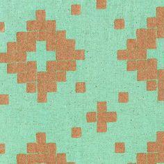 Half Yard  1/2 Yard of Tile Canvas Aqua Mettalic by LlamaFabrics