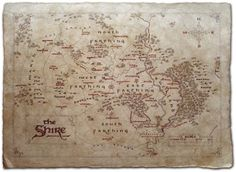Cool Maps of Fictional Literary Places  Gandalf Middle earth and