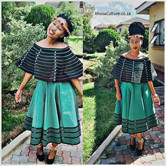 Traditional Xhosa attire with a twist! Xhosa Attire, African Attire, African Wear, African Women, African Style, African Traditional Wedding, African Traditional Dresses, Traditional Fashion, Traditional Outfits