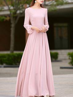 Pink Chiffon Dress, Satin Dresses, Pink Dress, Simple Dresses, Beautiful Dresses, Modest Fashion, Fashion Dresses, Winter Wedding Outfits, Designer Party Wear Dresses