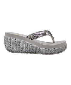 Take a look at this Silver Supashine Wedge Sandal by VOLATILE on #zulily today!