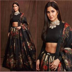 Showcasing one of beautiful creations, Katrina Kaif recently wowed us with a black lehenga.She stepped out in a black lehenga for the screening of her latest movie. The black flared lehenga featured colourful floral prints and was enhanced with . Lehenga Choli Designs, Lengha Choli, Silk Lehenga, Sari, Pakistani Lehenga, Lehnga Dress, Lehenga Blouse, Sabyasachi, Black Lehenga